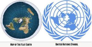 国連旗とフラットアース